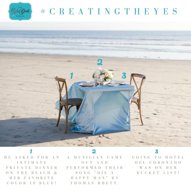 Thoughtful details of a private dinner on the beach proposal
