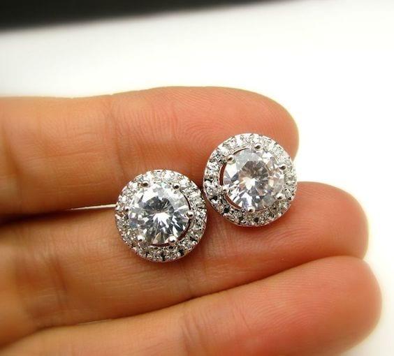 studded bridal earrings