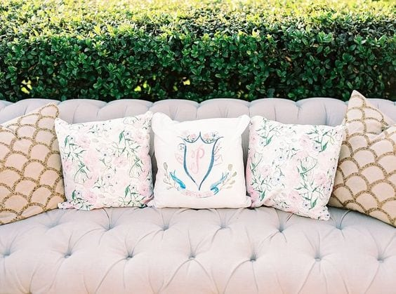 wedding lounge with custom pillow
