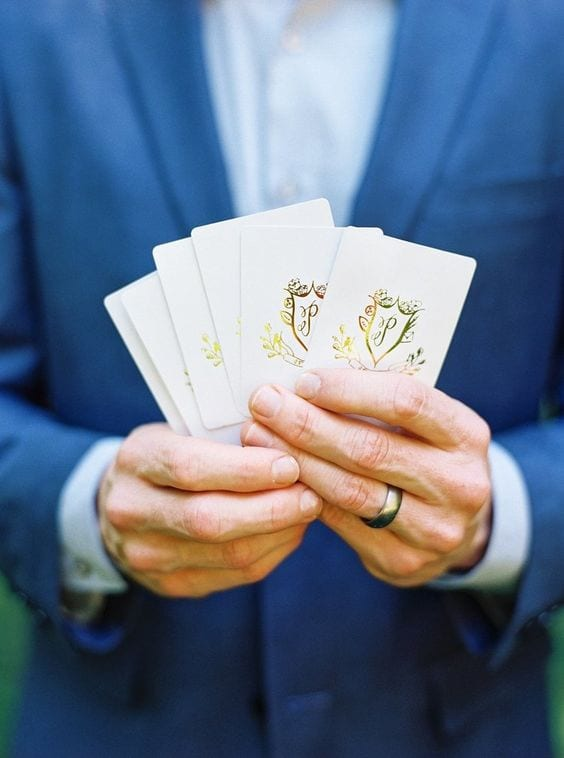 wedding lounge with personalized games and custom cards