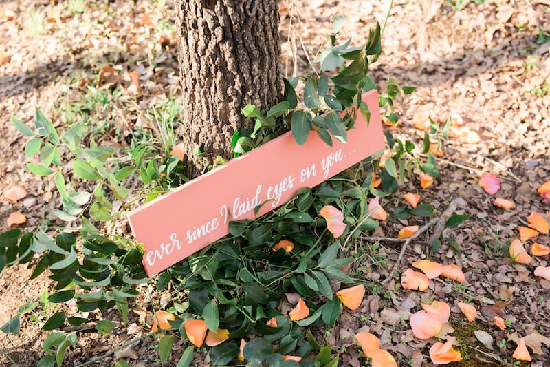 coral pink painted wood sign
