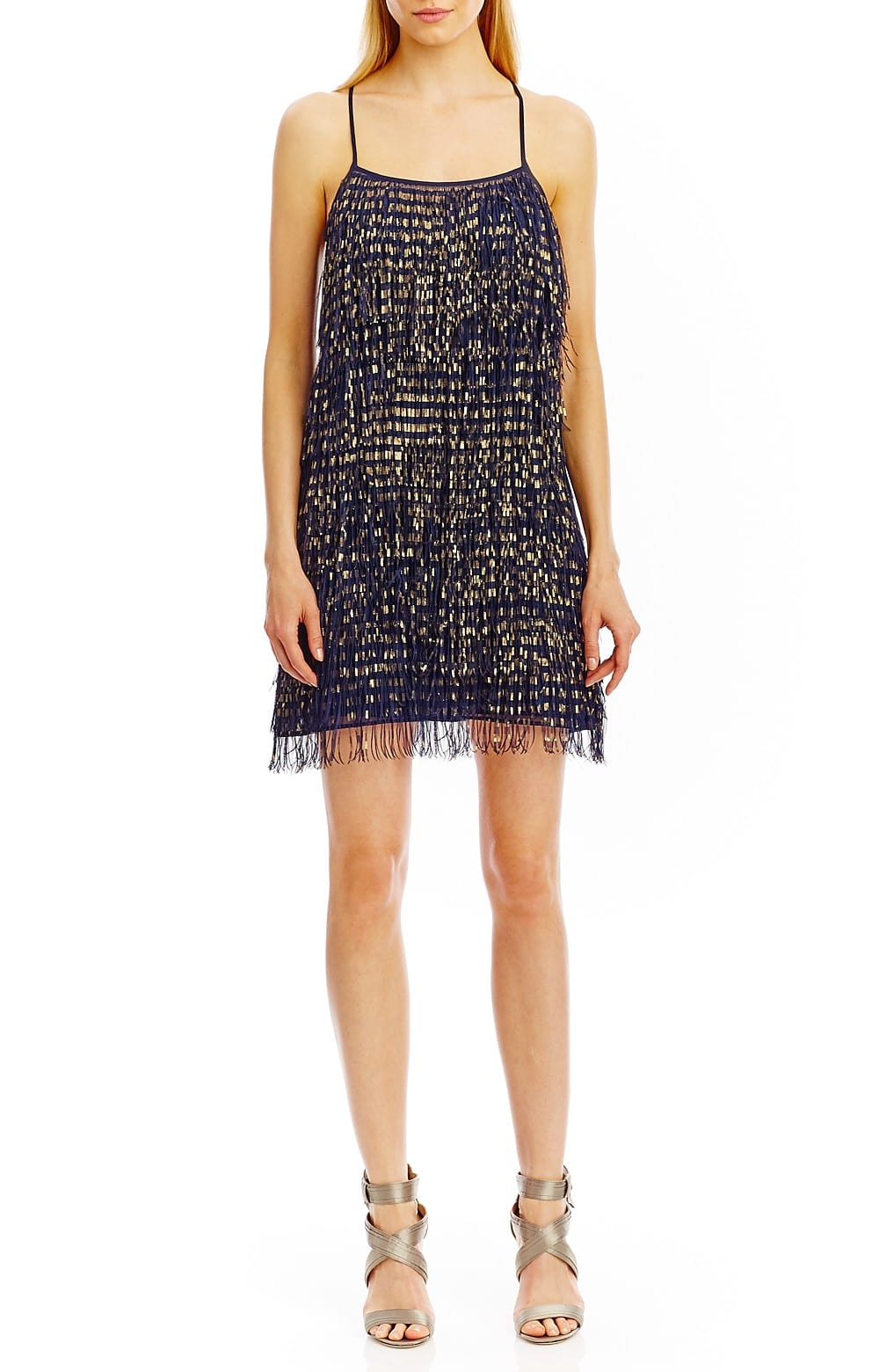 navy and gold fringe dress