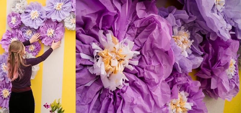 purple paper flowers in archway