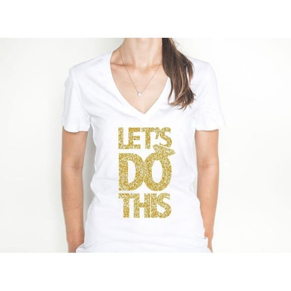 bachelorette party gold glitter shirt
