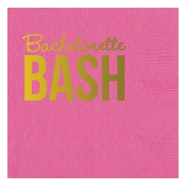 bachelorette party napkins with gold foil