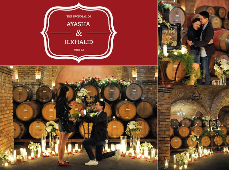 candles and rose marriage proposal in napa california