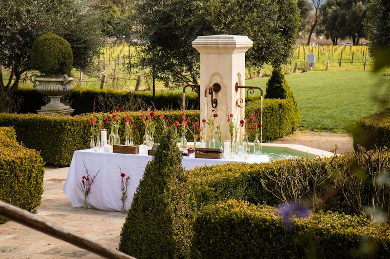 fountain garden area in napa valley
