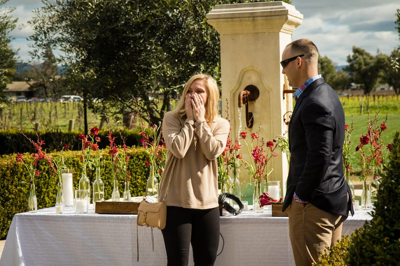 girl sees her family for the first time during proposal