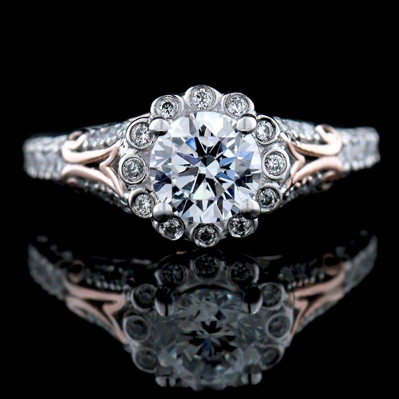 "man made ""diamond"" engagement ring"