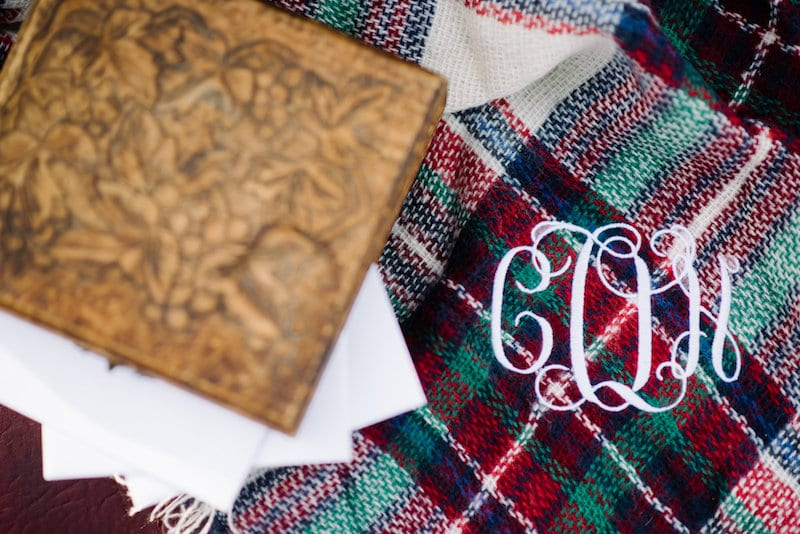 tartan blanket scarf with monogram