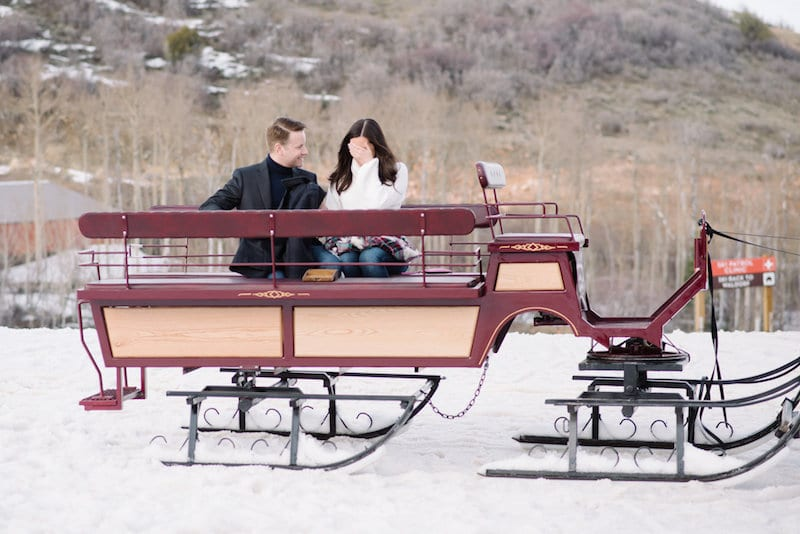 engagement on ski slopes in park city