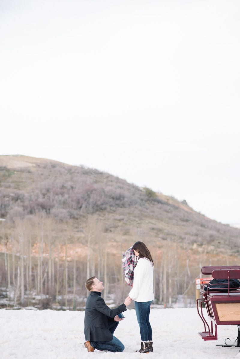 park city marriage proposal with carriage ride