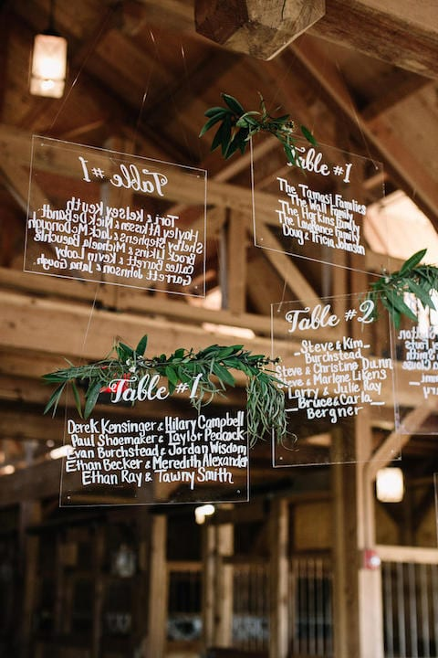 wedding seating chart on clear panel