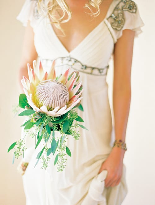 one protea bridal bouquet
