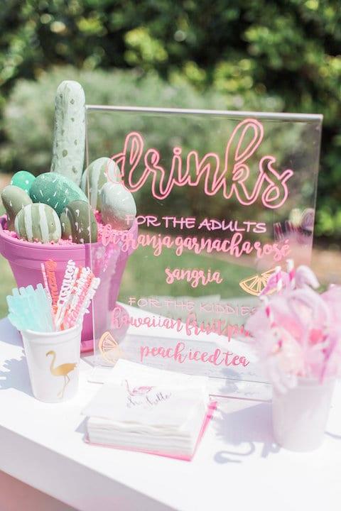 wedding drink menu on acrylic sheet