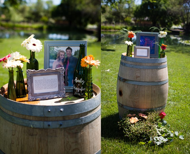 flowers and frames on wine barrels