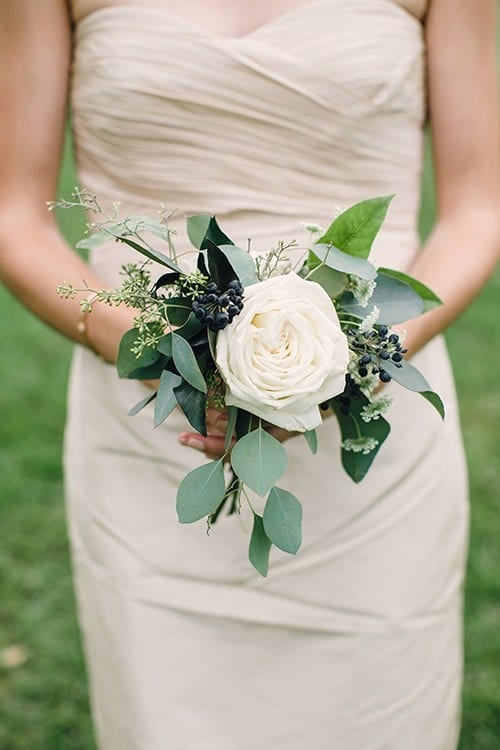 single garden rose bouquet for bridesmaids