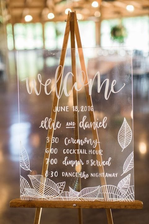 clear calligraphy wedding welcome sign