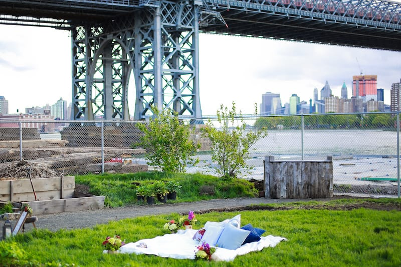 engagement under Brooklyn bridge