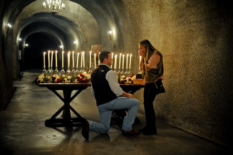 Napa Wine Cave Marriage Proposal