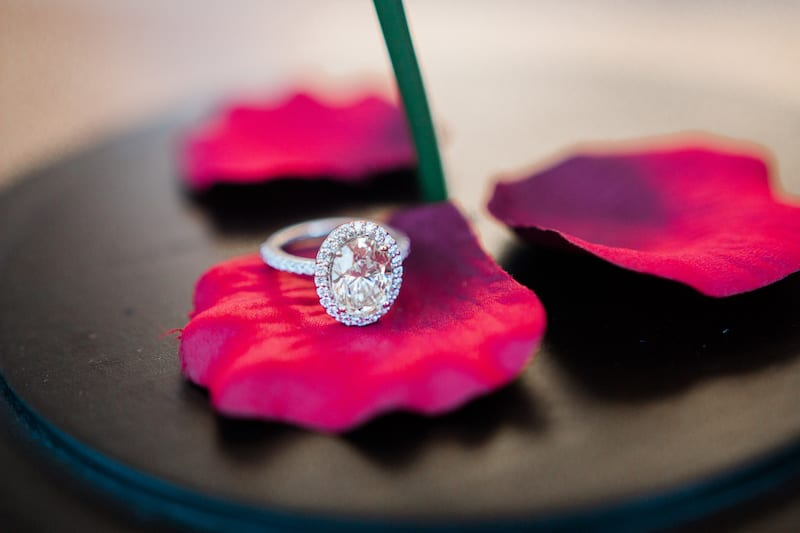 engagement ring on red rose petal