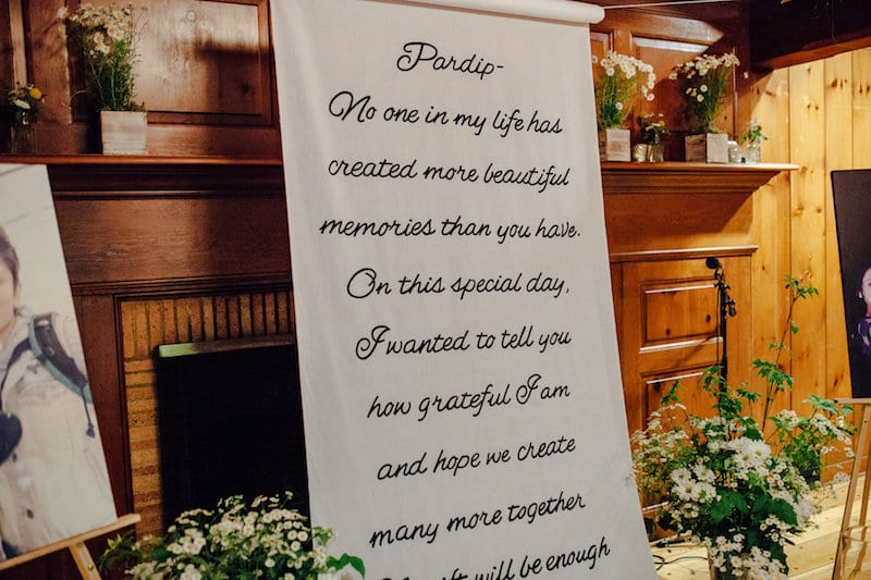 custom aisle runner with letter to bride