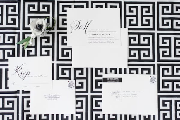 black and white modern wedding inspiration