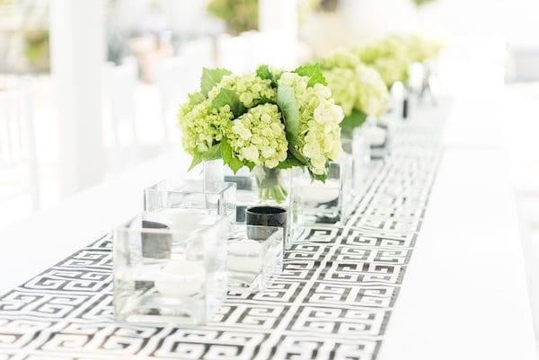 black and white table runner wedding
