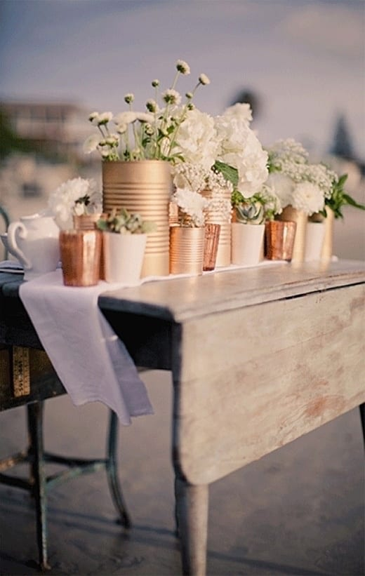 diy bride flower containers