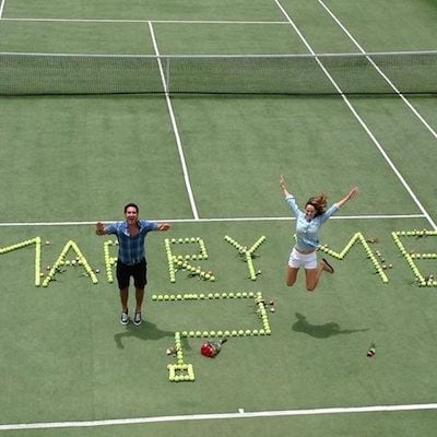 proposal with tennis balls