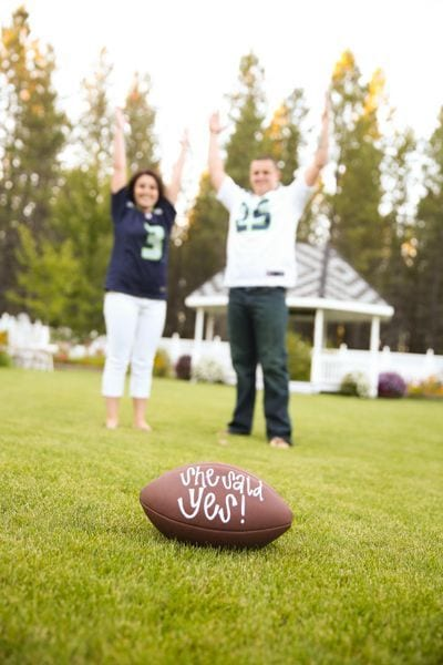 sports themed engagement pictures