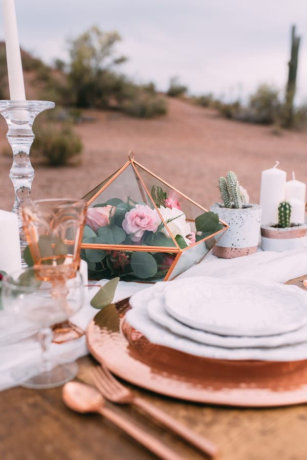 pink rose copper wedding inspiration