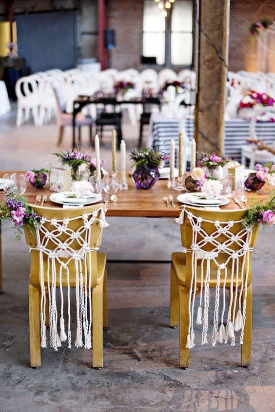 boho wedding crochet decor