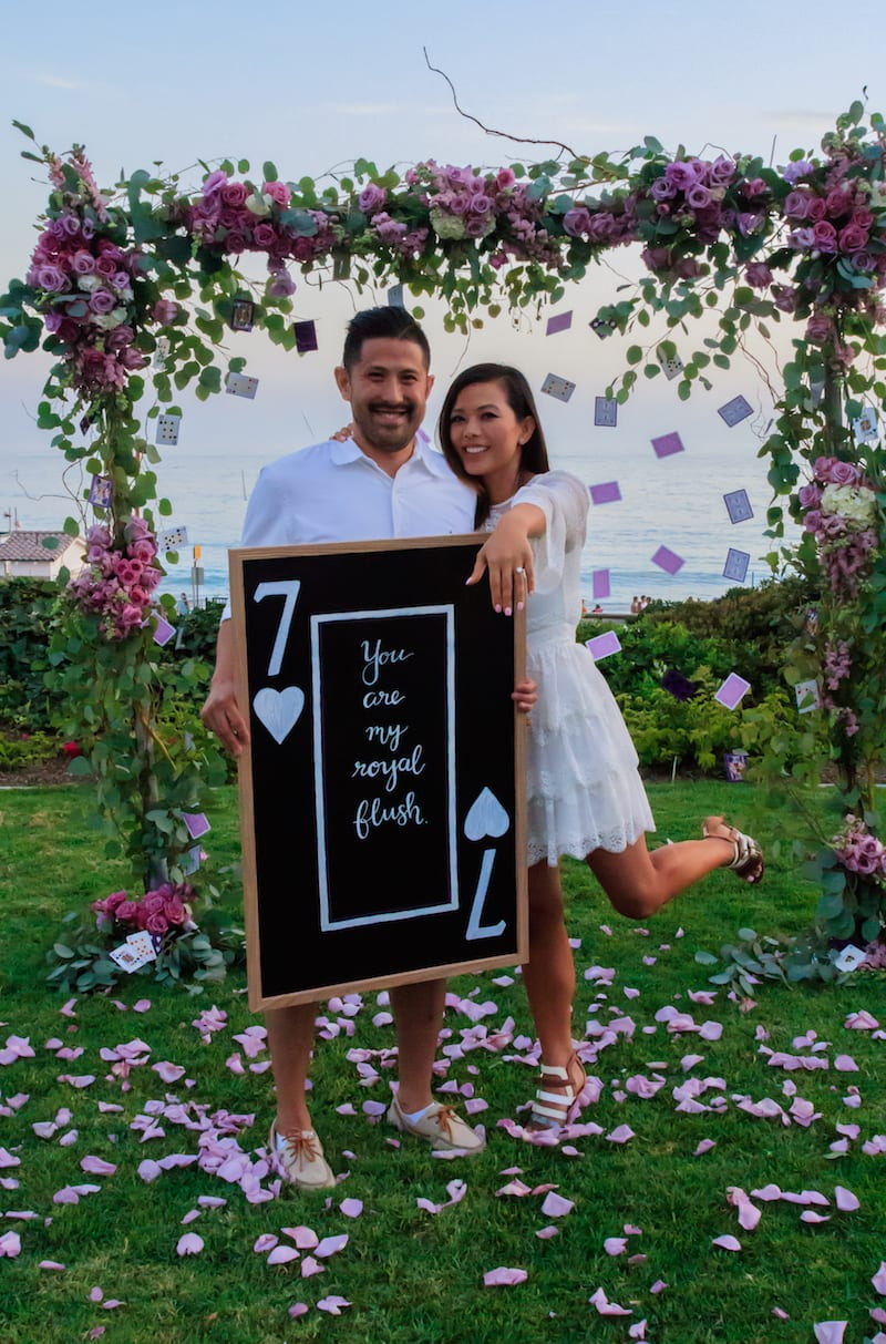 hanging poker cards engagement