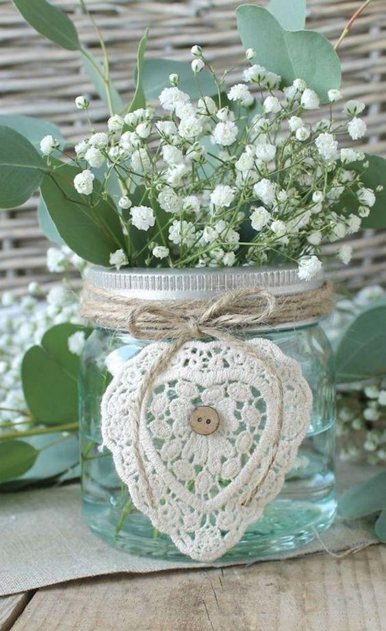 crochet mason jars for flowers