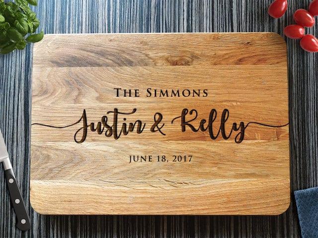 newlyweds monogram cutting board