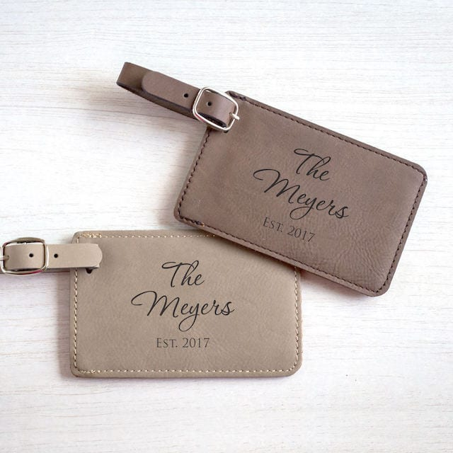 monogram luggage tags for honeymoon
