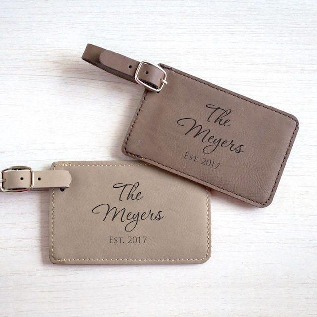 monogram luggage tags for honeymoon
