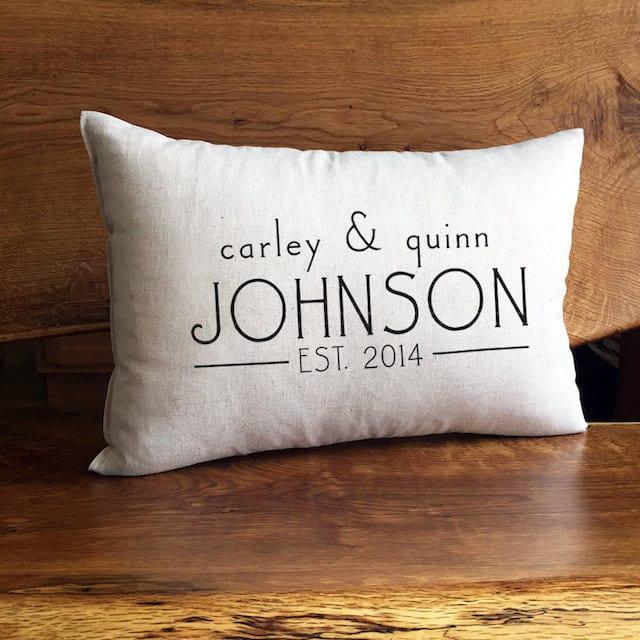 newlywed monogram throw pillow