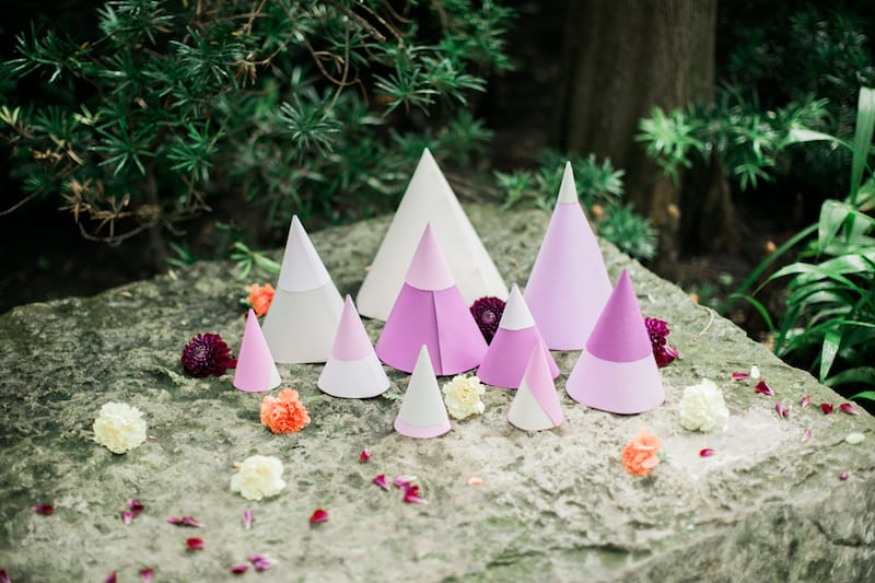 purple paper cones with flowers