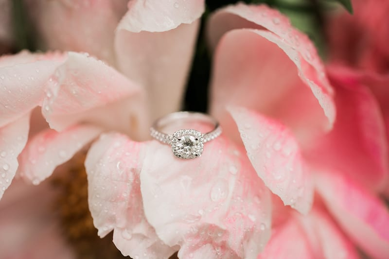 halo ring with pink flower petals