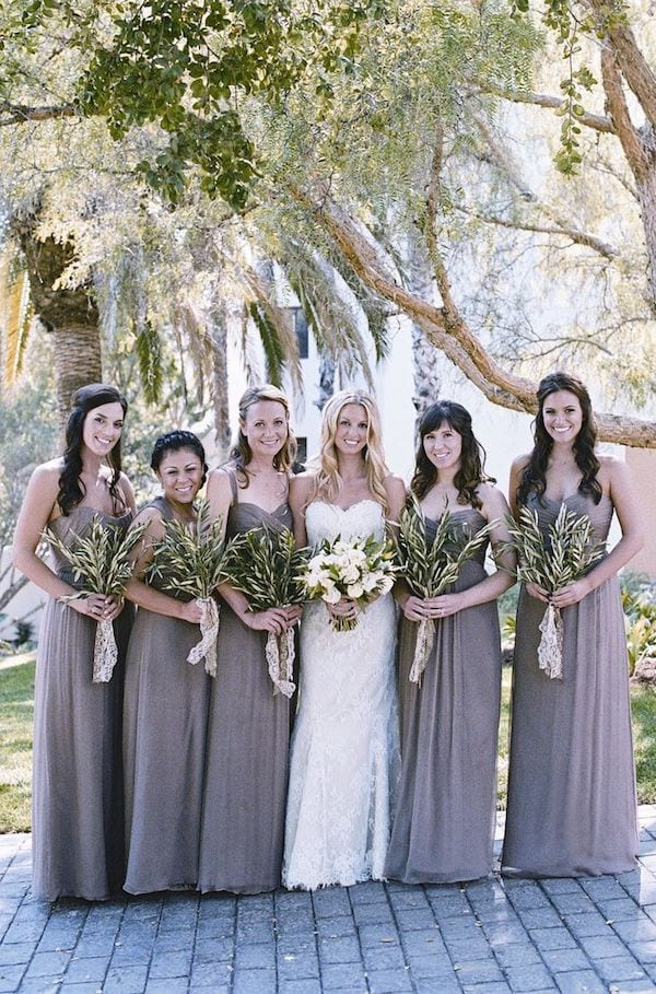 mix match v matching bridesmaid gowns