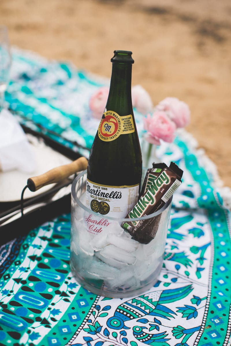 chilled sparkling cider and Milky Way bars