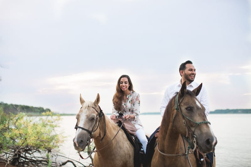Fort Worth proposal with horses and beach