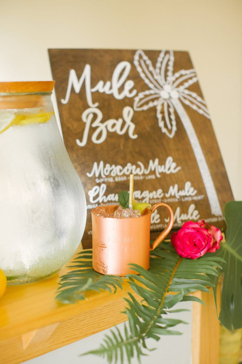 etched Moscow mule mugs for engagement party