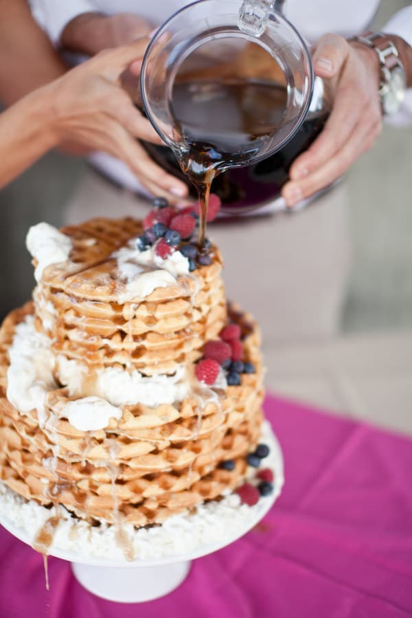 waffles wedding cake display