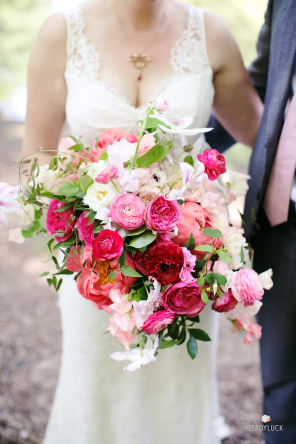 hot pink, red, and white bouquet