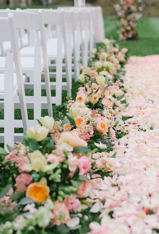 wedding ceremony aisle blush petals