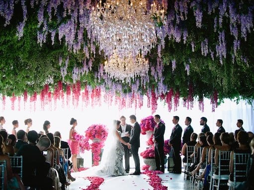 flowers on ceiling at wedding