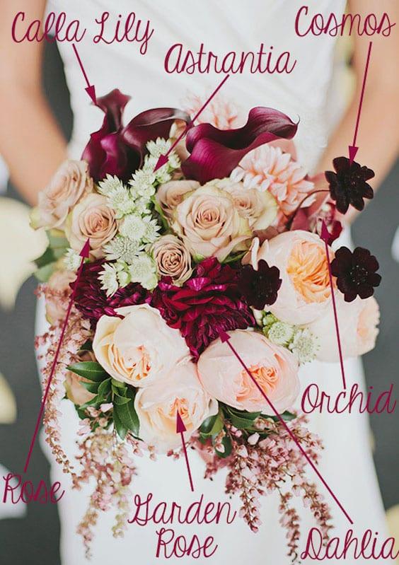 peach and maroon bridal bouquet